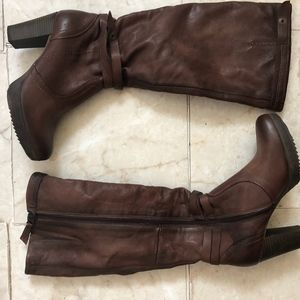 Bata Tall Heeled Leather Boots Brand New